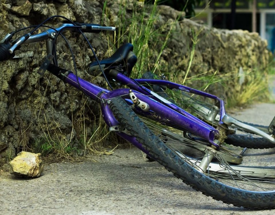 15952754 - deformation of bicycle after accident on the street